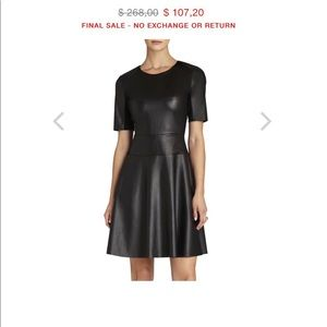 SAKS FIFTH AVENUE  faux leather A-line dress Xs